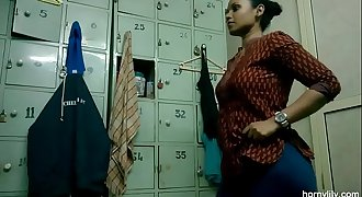 Indian Lady Lily Pubes Dress In Gym Pubes Room