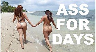 BANGBROS - Latina Lesbians Spicy J & Miss Raquel's Asstastic Day At The Beach