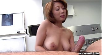 Astonishing Asian slut rails the cock on the floor