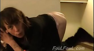 Skinny white dirty steet hooker fucked bareback by black in cheap motel