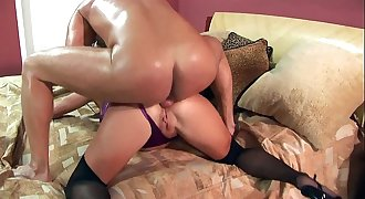Chelsea fucked in stockings and purple lingerie