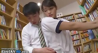 Japanese teen in swimsuit fucked in library - More at Elitejavhd.com