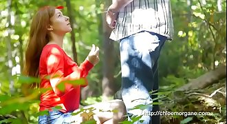 Chloe Morgane (Camille Crimson) Rear end Style Upskirt Sex in the Forest