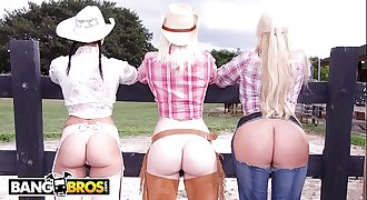BANGBROS - On The Dude Ranch With Rachel Starr, Karen Fisher and Marissa