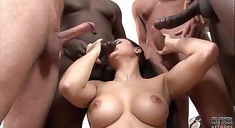 Interracial anal and pussy fuck babe gangbang with facial cumshots guzzle