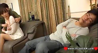 Japanese Wife Homami Takasaka Cheating While Her Husband Sleeps In The Same Room - More Japanese XXX Full HD Porn at www.IFLJAPAN.com