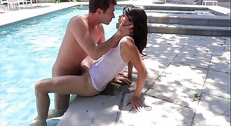 Randy stud licks Asian honey Dana Vespoli's cunt by the pool then takes her inside to fuck