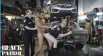 BLACK PATROL - Busty White Cops Shut Down A Chop Shop And Ride Big Black Cock