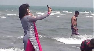 Hot Couples Taking Sea Bath In Saint Martin's Island Sea Beach- Teknaf, Cox's Bazar, Bangl
