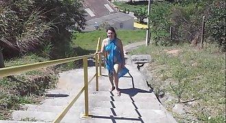 Brazilian wife flashing on the beach