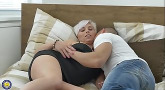 Horny mature lady loves young shaft