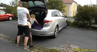 Youthfull dogging wifey fucked by lots of strangers