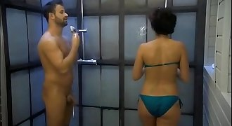 Big Brother Hungary - Fanni masturbates Dennis in the shower