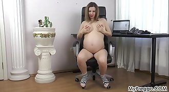 Stripping Naked and Frigging Her Wet Pregnant Pussy!