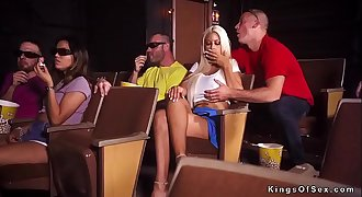 Huge boobs blonde cheating at the cinema