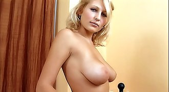 Shy Busty Blond Teen first time porno audition. Sexy stripping & masturbation. Cunt fingering, large tits!